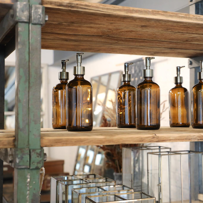 bronze top dispenser vintage brown modern apothecary 480ml practical hand sanitiser soap shower gel kitchen bathroom