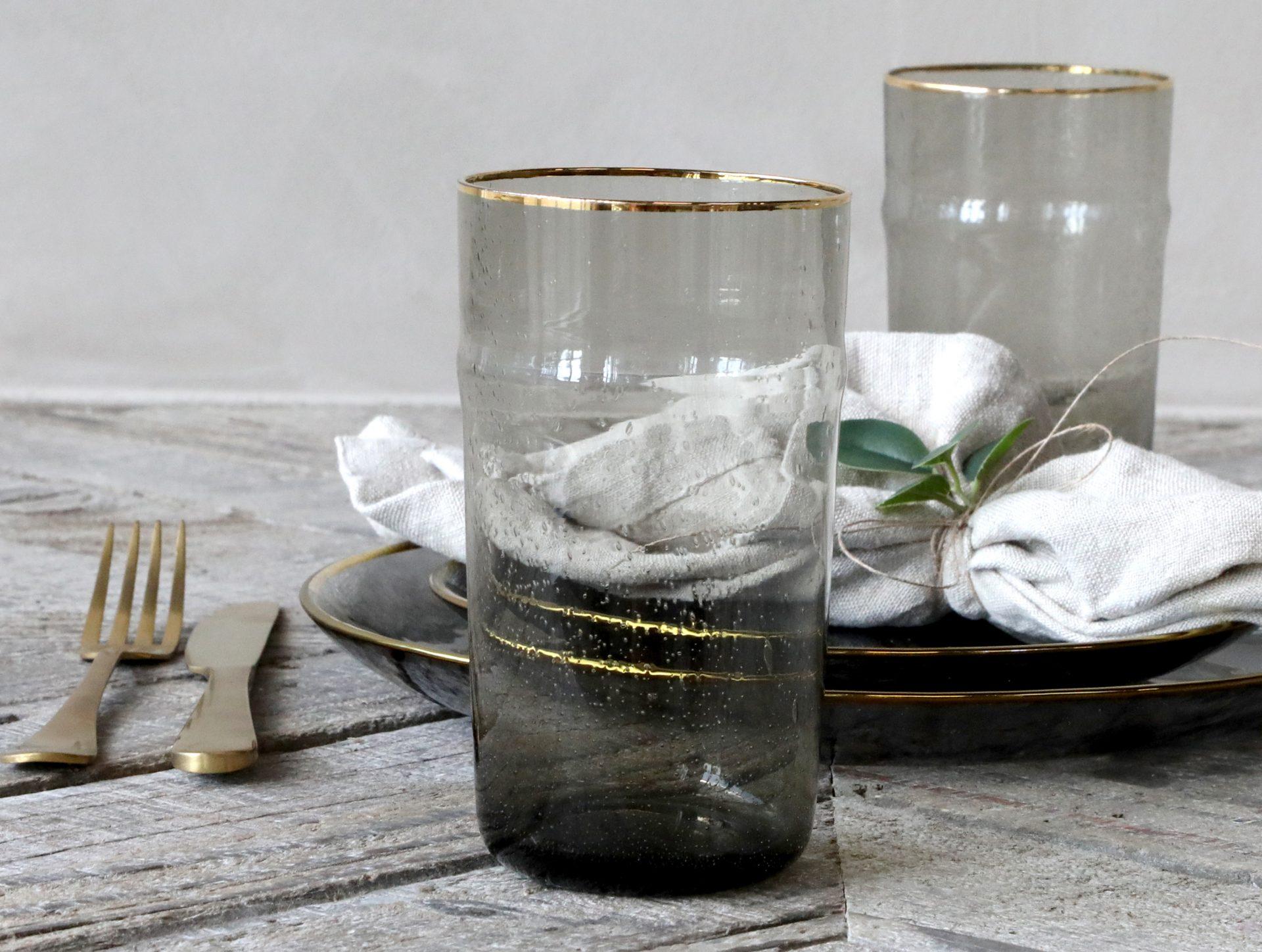 smoked grey gold glass