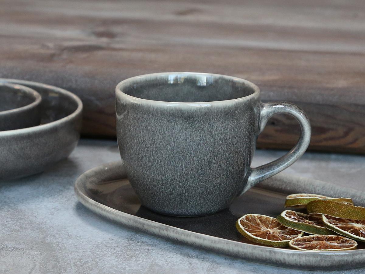 grey mug with handle, stone grey, mottled, textured unique
