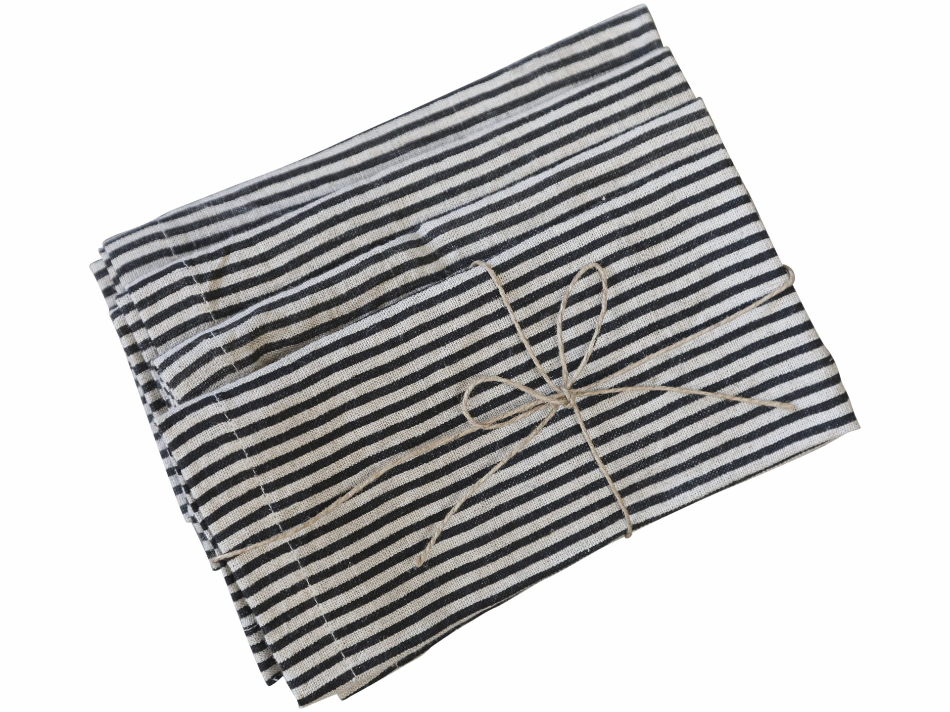 classic striped napkins, set of four, navy and beige